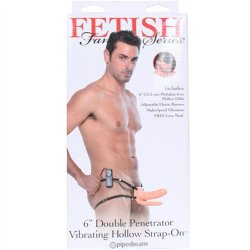 "Fetish Fantasy Double Penetrator Vibrating Hollow Strap-On - Cream 6"" Sex Toy"