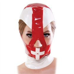 Fetish Fantasy Extreme Malpractice Latex Hood - Red And White Sex Toy
