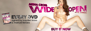 Get autograph and free T-shirt with Misha Cross Wide Open porn movie.